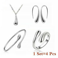 4Pcs Women Fashion 925 Wedding Drop Necklace Bracelet Earring Ring Jewelry Set