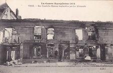 CPA GUERRE 14-18 WW1 OISE CREIL rue gambetta maisons bombardées mercerie