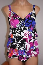 Swim Solutions Swimsuit 1 one piece attached Dress Plus Sz 18W vintage garden