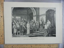 Rare Antique Original VTG Christ Before Pilate Biblical Photogravure Art Print