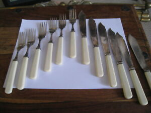 6 x Vintage Silver Plated EPNS Fish knives and Forks with Faux Bone Handles vgc