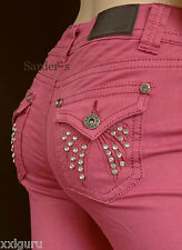 ARIZONA Röhren Jeans 20 Stretch Denim Patten 40 L30 Strass Steine Mauve Edel NEU