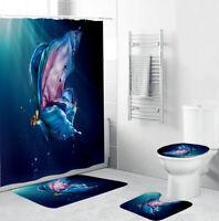 Butterfly Shower Curtain Set Bathroom Rug Bath Mat Non-Slip Toilet Lid Cover
