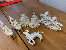 Hand-Painted Gold-Accented White Porcelain Ornaments Set of 7 - Sleigh, Tree