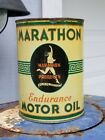 Vintage Marathon Endurance Quart Oil Can Empty Metal Original