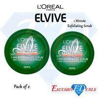 2 x Loreal Elvive Phytoclear Intensive Pre-Shampoo - Exfoliating Scrub 150ml