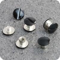 10 Qualitäts Gürtelschrauben schwarz Buchschraube 5 mm Schraubniete (0,40€/1Stk)
