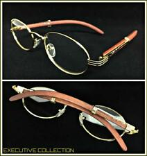 9fed049cbd4 Men Classy Exotic Luxury Designer Style Clear EYE GLASSES Oval Gold Wooden  Frame