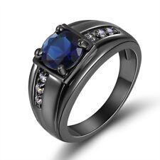 Princess Cut Size 9  Women Men 10KT Gold Filled  Blue Topaz Wedding Fashion Ring