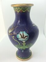 CLOISONNE VASE BEAUTIFUL BLOSSOM LILLY AND BIRD BLUE BACKGROUND