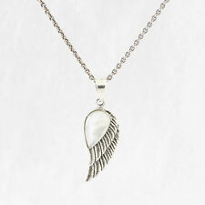 "925 Sterling Silver Angel Wing with Mother Of Pearl PENDANT w Oxidised 16"" Chain"