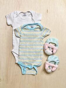 Gerber Baby Girl Short Sleeve Onesies and Unicorn Shoes Bundle (3 Items)