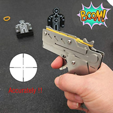 Hill Classic Folding Stainless Steel Rubber Band Gun Semi-Automatic Portable Toy