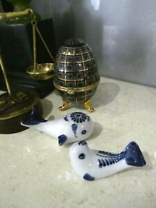 Set of Blue & White collectible ceramic Whale & Seal Figurine