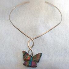 Choker Necklace Gold Tone Twisted Wire Multi-Color Acrylic Butterfly