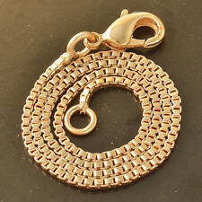 7.87 inch Womens 9K Rose Gold Plated Box Chain Punk Bracelet Turkish Jewelry