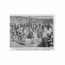 PHILADELPHIA Carnival of Authors at Academy of Music - Antique Print 1876