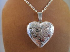 "UK Jewellery Silver Heart Style Photo Locket Pendant + 18""  Trace Necklace Chain"