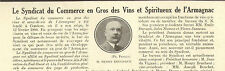 32 SYNDICAT COMMERCE VINS ARMAGNAC PETIT ARTICLE PRESSE PAR HENRY BRUCHAUT 1931