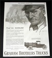 1924 OLD MAGAZINE PRINT AD, DODGE, GRAHAM BROTHERS TRUCKS, FOOD FOR 30,000,000!