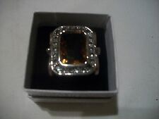 NOLAN MILLER Signed Sz 7.25 MAGNIFICENT Amber Clear Crystals Silvertone Free Shp