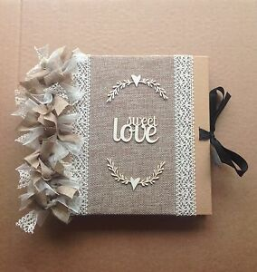 Rustic Vintage Shabby Chic Hessian Wedding Guestbook / Scrapbook / Photo Album
