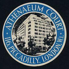 Athenaeum Court Hotel LONDON England UK * Old Luggage Label Kofferaufkleber
