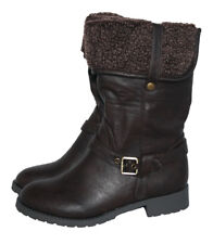GIRLS BROWN MID CALF BOOT WITH FUR COLLAR AND SIDE ZIP SIZE 11