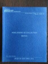 Catalogue de Vente Briest 1995 Horlogerie Montre de Collection Bijou Pierre Hugo