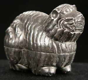 Vintage Miniature Small 900 Silver Hammered Cambodian Khmer Tiger Betel Nut Box