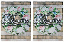"""Welcome (Wreath Roses) 12.5""""x18"""" Double Sided Polyester Sleeve Garden Flag"""