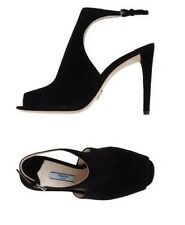 New PRADA Milano Black Suede Heeled Made in Italy Shoes/Dust Bag Size 39  $650