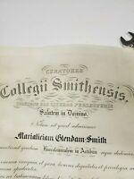 Antique 1933 Collegii Smithellsis Degree Diploma Certificate Vintage (sh) (tube2