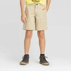 Cat & Jack Boys Flat-Front Adjustable Waist Shorts Beige Size 5 7 10 16