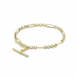 9ct Yellow Gold 7.5 Inch Figaro Belcher Albert T-Bar Bracelet