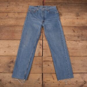 "Vintage 80s Levis 501 Blue Raw Hem Denim Jeans USA Made 33"" x 32"" R18189"