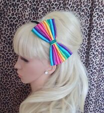 "RAINBOW STRIPE MULTICOLOUR PRINT COTTON FABRIC 5"" SIDE BOW ALICE HAIR HEAD BAND"