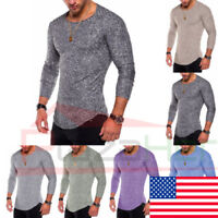 Men's Clothes Long Sleeve Slim Fit O Neck Muscle Tee T-shirt Casual Tops Blouse