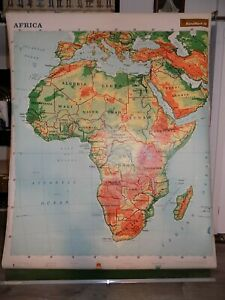 1966 RAND McNALLY WALL MAP AFRICA EXTRA LARGE PULL DOWN VERY GOOD
