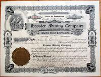 1908 Stock Certificate: 'Hoosier Mining Company' - Seattle, Washington State WA