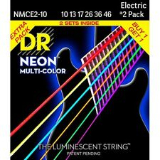 DR Electric Guitar Strings 2 Pack K3 NEON Multi-Color Medium 10s NMCE-2/10