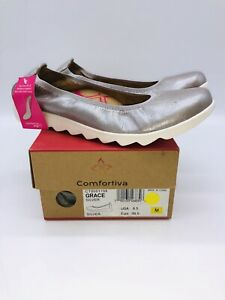 Comfortiva Women's Grace Slip On Ballet Flat Silver Metallic Leather US 8.5M