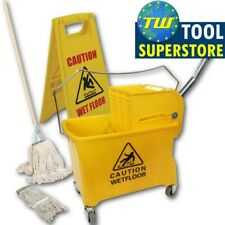 More details for professional industrial yellow kentucky mop buckets with wringers & mop heads