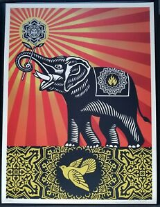 Shepard Fairey Obey Elephant Giant 18x24 Screen Print 2009 Peace Dove banksy