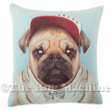 ZOO PORTRAIT PUG DOG CHARACTER SUEDE FEEL ANNABEL TRENDS CUSHION 45x45cm **NEW**