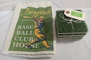 New Baseball TURF Grass Drink Coasters Set of 4 Bergino 3.5 x 3.5. W/storage bag
