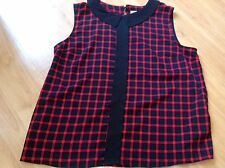 BEAUTIFUL LADIES BLACK/RED CHECK Ben di lisi BLOUSE SIZE UK 16 PETITE IMMACULATE