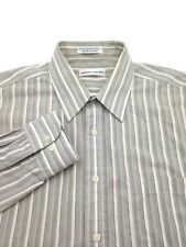 $85 Pierre Cardin Men Fit Green Stripe Long-Sleeve Button Dress Shirt 16 32/33 L
