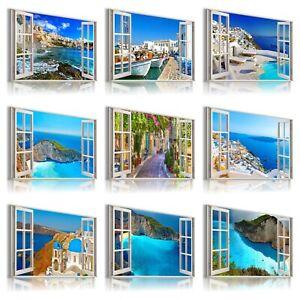 GREECE ZANTE SEA FLOWERS View 3D Window Effect Canvas Wall Art  M6  28mm frame