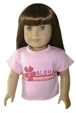 Pink Short Sleeve T Shirt with Aloha Graphic Fits 18 inch American Girl Doll
